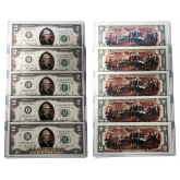 1976 BICENTENNIAL Colorized 2-SIDED Genuine Legal Tender U.S. $2 Bills * Lot of 5 - Consecutive Serial Numbered *