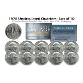 1978 QUARTERS Uncirculated U.S. Coins Direct from U.S. Mint Cello Packs (QTY 10)