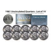 1981 QUARTERS Uncirculated U.S. Coins Direct from U.S. Mint Cello Packs (QTY 10)