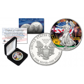 2016 1 oz Pure Silver American Eagle * 30th Anniversary * $1 Coin .999 Fine BU Colored in Capsule with Deluxe Box