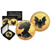 2016 1 oz Pure Silver $1 BLACK EAGLE Ruthenium EDITION 24KT Gold Gilded U.S. Coin with BOX