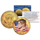 Colorized - FLOWING FLAG - 2016 JFK Kennedy Half Dollar US Coin P Mint - 24K Gold Plated
