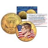 Colorized - FLOWING FLAG - 2016 JFK Kennedy Half Dollar US Coin D Mint - 24K Gold Plated