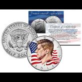 Colorized - FLOWING FLAG - 2016 JFK John F Kennedy Half Dollar U.S. Coin D Mint