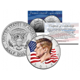 Colorized - FLOWING FLAG - 2016 JFK John F Kennedy Half Dollar U.S. Coin P Mint
