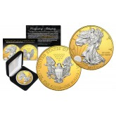2017 Silver Eagle Uncirculated 1 oz Ounce U.S. Coin * Mixed-Metals Select Mirror Finish * .999 FINE SILVER GILDED with 24K Gold Backdrop (with BOX)