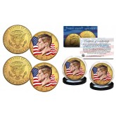 Colorized FLOWING FLAG 2018 JFK Kennedy Half Dollar 24K Gold Plated 2-Coin Set - Both P & D Mint