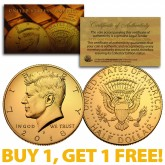 24K GOLD PLATED 2018-P JFK Kennedy Half Dollar Coin with Capsule (P Mint) BUY 1 GET 1 FREE