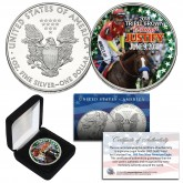 JUSTIFY TRIPLE CROWN WINNER Horse Racing Genuine 1 oz. .999 SILVER U.S. 2018 AMERICAN EAGLE in Deluxe Display Box