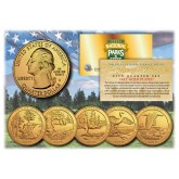 2018 America The Beautiful 24K GOLD PLATED Quarters U.S. Parks 5-Coin Set with Capsules