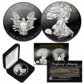 Black RUTHENIUM SILHOUETTE Edition 1 oz .999 Fine Silver 2018 American Eagle Coin with Deluxe Felt Display Box