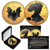 2019 1 oz Pure Silver $1 BLACK EAGLE Ruthenium EDITION 24KT Gold Gilded U.S. Coin with BOX