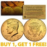 24K GOLD PLATED 2019-D JFK Kennedy Half Dollar Coin with Capsule (D Mint) BUY 1 GET 1 FREE