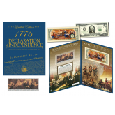 Declaration of Independence - 240th Anniversary - Colorized $2 Bill & U.S. 1976 Stamp Strip with Collectible Large Folio (Limited to 5,000 Serial Numbered)