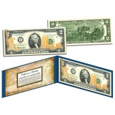 WORLD TRADE CENTER 9/11 WTC U.S. $2 Bill - Statue of Liberty - Laser Line GOLD LEAF - Legal Tender