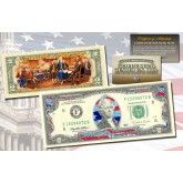 STARS & STRIPES FLAG HOLOGRAM Legal Tender U.S. $2 Bill Currency with COLORIZED Reverse - Limited Edition