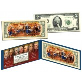 COLORIZED BACK with FOUNDING FATHERS OF THE UNITED STATES Colorized Reverse $2 Bill Genuine U.S. Legal Tender