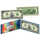 SILVER DIAMOND CRACKLE HOLOGRAM Legal Tender US $2 Bill Currency - Limited Edition