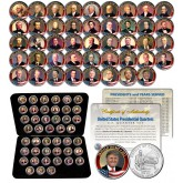 ALL 45 United States PRESIDENTS Complete Coin Collection Colorized Washington DC Quarters with DELUXE BOX and FULL COLOR CERTIFICATE