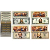 Declaration of Independence 2-Sided Colorized Genuine Legal Tender U.S. Bills  *Complete Set  $1/$2/$5/$10*