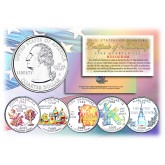 2000 US Statehood Quarters HOLOGRAM - 5-Coin Complete Set - with Capsules & COA