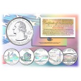 2005 US Statehood Quarters HOLOGRAM - 5-Coin Complete Set - with Capsules & COA