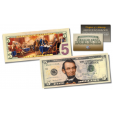 2-Sided Colorized Genuine Legal Tender U.S. $5 Five-Dollar Bill - Declaration of Independence Reverse