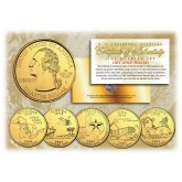 2004 US Statehood Quarters 24K GOLD PLATED - 5-Coin Complete Set - with Capsules & COA