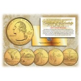 2007 US Statehood Quarters 24K GOLD PLATED - 5-Coin Complete Set - with Capsules & COA