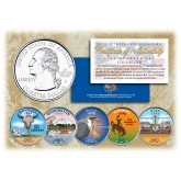 2007 US Statehood Quarters COLORIZED Legal Tender - 5-Coin Complete Set - with Capsules & COA