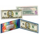 $5 GOLD DIAMOND CRACKLE HOLOGRAM Legal Tender US $5 Bill Currency - Limited Edition