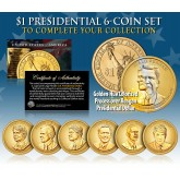 2016 Presidential $1 Dollar Colorized GOLDEN-HUE * 6-Coin Set * Living President Series - Carter, HW Bush, Clinton, Bush, Obama, Trump