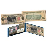 American Bison Buffalo / Lewis & Clark 1901 Designed NEW $10 Bill - Genuine Legal Tender Modern U.S. Ten-Dollar Banknote