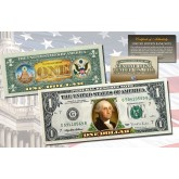 ONE DOLLAR $1 U.S. Bill Genuine Legal Tender Currency COLORIZED 2-SIDED