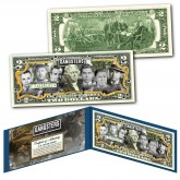 GANGSTERS OFFICIAL Genuine Legal Tender U.S. $2 Bill -  Luciano, Dillinger, Siegel, MGK, Floyd, Capone