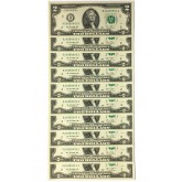 10 Consecutive Serial Number Uncirculated $2 DOLLAR BILLS with 10-Pocket PORTFOLIO ALBUM