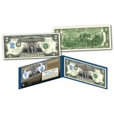 1899 George Washington Two-Dollar Silver Certificate designed on modern $2 bill