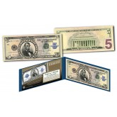 1923 Abraham Lincoln Porthole $5 Silver Certificate Banknote designed on Modern $5 Bill