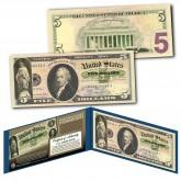 1861 Alexander Hamilton Demand Note Civil War $5 Banknote on Genuine Modern $5 U.S. Bill