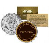 World War II - PO BOX 1142 Alexandria VA - Colorized JFK Half Dollar U.S. Coin - WWII Secret POW Camp