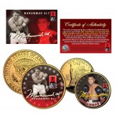 MUHAMMAD ALI New York Quarter & JFK Half Dollar 2-Coin Set 24K Gold Plated - Officially Licensed