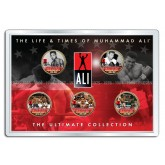 "MUHAMMAD ALI "" Life & Times "" 24K Gold Plated US Statehood Quarter 5-Coin Set - Officially Licensed"
