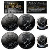 BLACK RUTHENIUM 2018 JFK Kennedy Half Dollar 2-Coin Set BOTH P&D MINT with Capsules