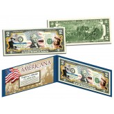 JOHN WAYNE - Americana - Genuine Legal Tender Colorized U.S. $2 Bill - Officially Licensed