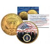 LIVING PRESIDENTS * Americana * Colorized JFK Kennedy Half Dollar U.S. Coin 24K Gold Plated JIMMY CARTER
