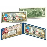 PEANUTS - CHARLIE BROWN - SNOOPY - Americana - Genuine Legal Tender Colorized U.S. $2 Bill - Officially Licensed