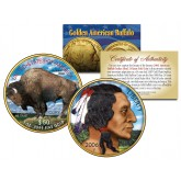 Colorized 2006 AMERICAN GOLD BUFFALO Colorized Indian Coin - 24K Gold Plated