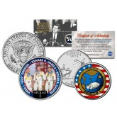 APOLLO 1 SPACE MISSION Colorized 2-Coin Set U.S. Florida Quarter & JFK Half Dollar - NASA ASTRONAUTS