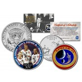 APOLLO 14 XIV SPACE MISSION Colorized 2-Coin Set U.S. Florida Quarter & JFK Half Dollar - NASA ASTRONAUTS