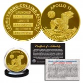 Apollo 11 50th Anniversary Commemorative 1 OZ One-Ounce Man in Space Medallion Tribute Coin clad in 24K Gold